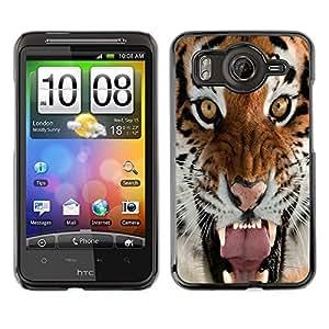 Caucho caso de Shell duro de la cubierta de accesorios de protección BY RAYDREAMMM - HTC G10 - Tiger Roar Yawn Intense Animal Nature