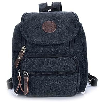 Hiigoo Multi Zipper Pocket Small Cross Body Shoulder Bag Backpack (Black)