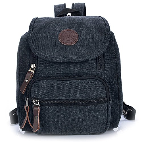 Hiigoo Multi Zipper Pocket Small Cross Body Shoulder Bag Backpack (Black) by Hiigoo