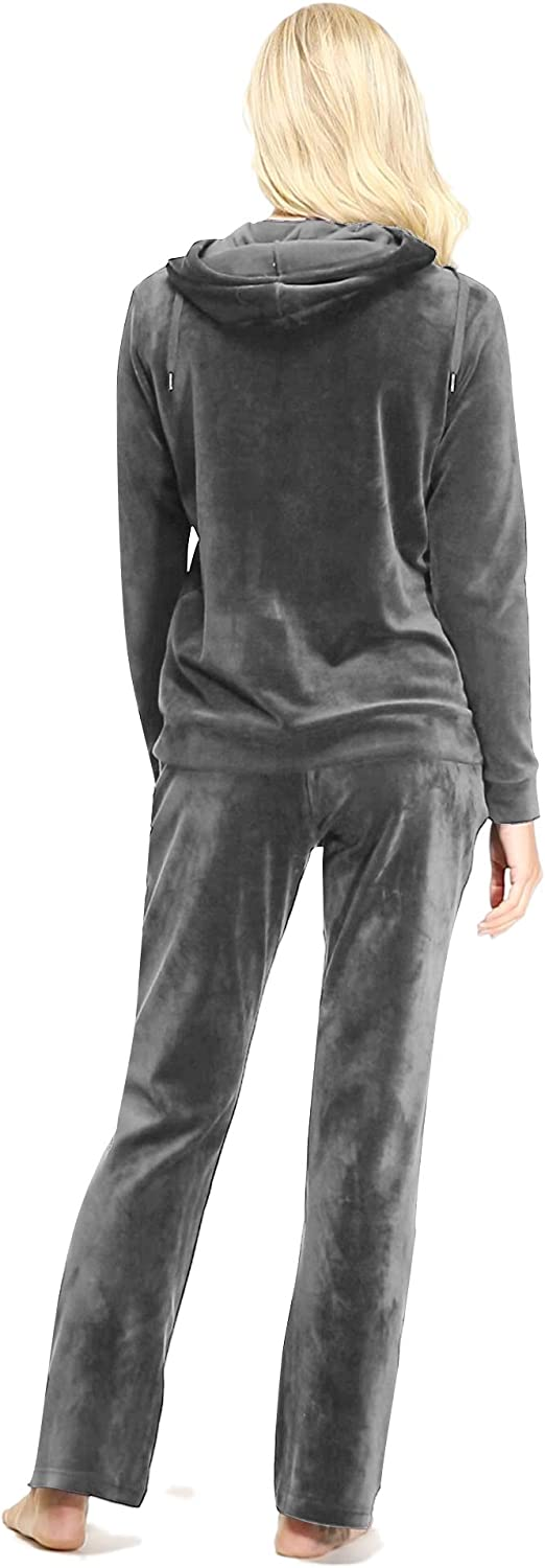 Coolred-Men Hoodie Lounge Zip 2-Piece Gold Velvet Pockets Tracksuit Outfit