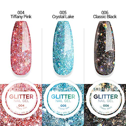 Modelones Glitter Gel Nail Polish set - 3 Color, Soak Off UV LED Super Platinum glitter nail polish Nail Gel Varnish Manicure Kit 5ml