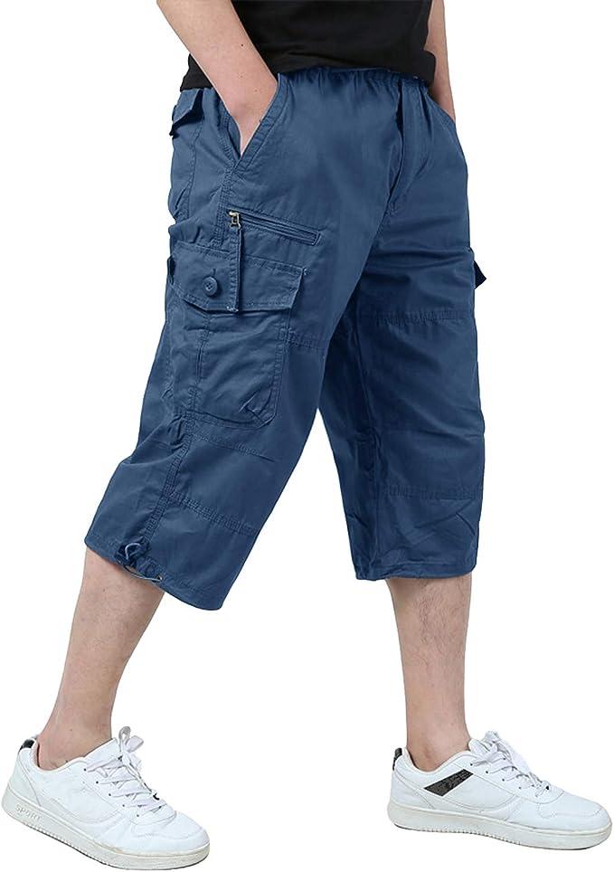 KEFITEVD Pantalón Cargo Hombre 3/4 Bermudas Pantalones Cortos de ...