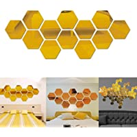 Gigicloud 12Pcs Acrylic Hexagon 3D Art Mirror Wall Sticker Home DIY Decor Gold 46x40x23mm
