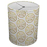 Hardback Linen Drum Cylinder Lamp Shade 8'' x 8'' x11'' Spider Construction [ Golden Floral Mirror ]