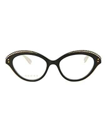 a796518aad Amazon.com  Gucci GG 0215O 001 Black Plastic Cat-Eye Eyeglasses 51mm ...