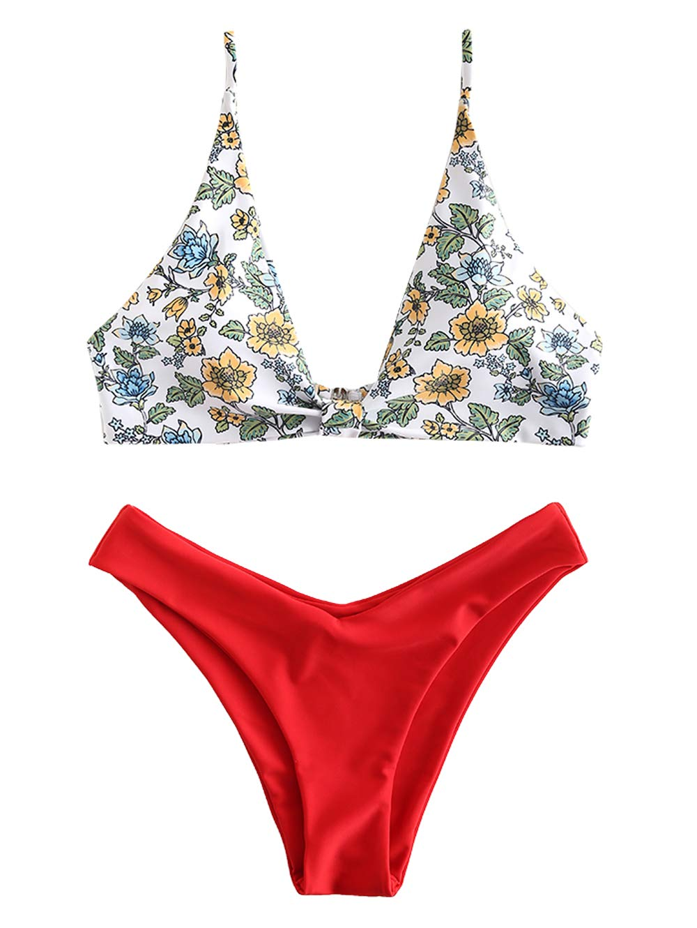 ZAFUL Womens Floral Low Waisted Front Knot Bikini Set Cute Two Piece Swimsuits