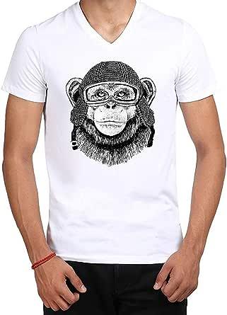 MEC Pilot Monkey Design T-Shirt White V-Neck Medium Size MEC MT-PMonkey1 For Men