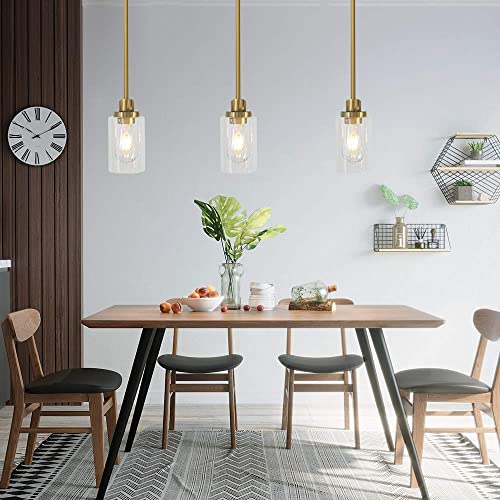 TODOLUZ 1 Light Kitchen Island Lighting Brushed Brass Contemporary Pendant Light
