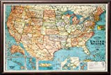 FRAMED Bacon's Standard Map of The United States - Classic Style 20x28 Poster in Real Wood Premium Copper Rust Finish Crafted in USA