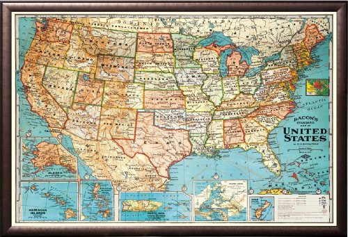 Framed Perfect For Push Pins Usa Map Vintage Look Poster In Rust Finish Wood
