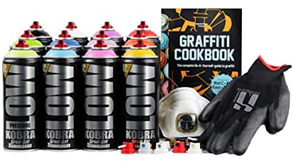 Kobra LP Graffiti Starter Pack - 12 Spray Paint Cans, Tutorial Book,  Protective Gloves + Try-out Cap Set - Perfect For Beginners!