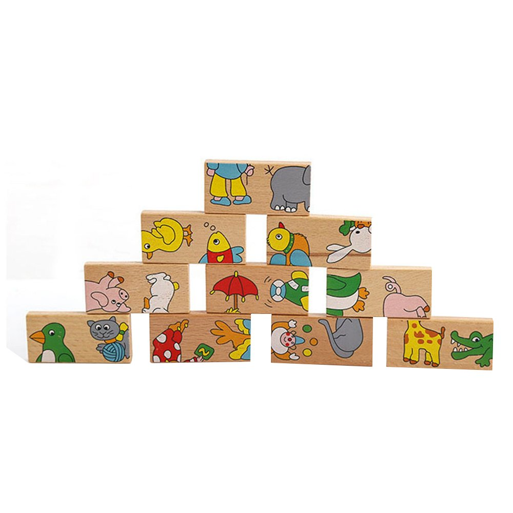 GYBBER&MUMU Wooden Animal Puzzles Dominoes Set for Kids As Early Learning Toys 15 Pieces