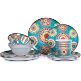 16pcs Melamine Dinnerware Set for 4, Outdoor and Indoor Dinne Dishes Set for Everyday Use, Break-resistant
