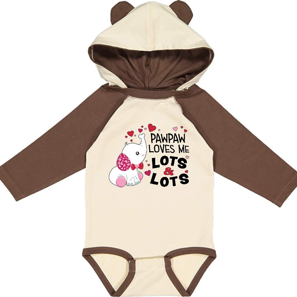 inktastic Pawpaw Loves Me Lots and Lots Cute Elephant Long Sleeve Creeper
