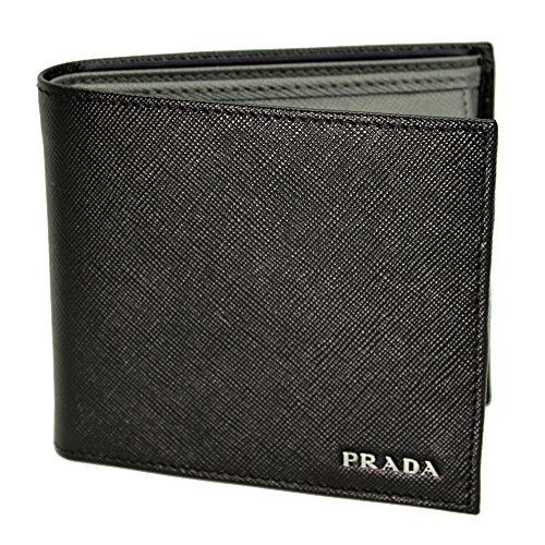 Prada Mens Black+gray Saffiano Leather Bi-fold Wallet 2m0738 Nero+mercurio