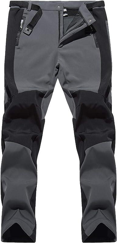 LHHMZ Pantalones de Senderismo de Invierno de Forro Polar para Hombre Pantalones de Andar de Escalada de esquí cálido a Prueba de Viento