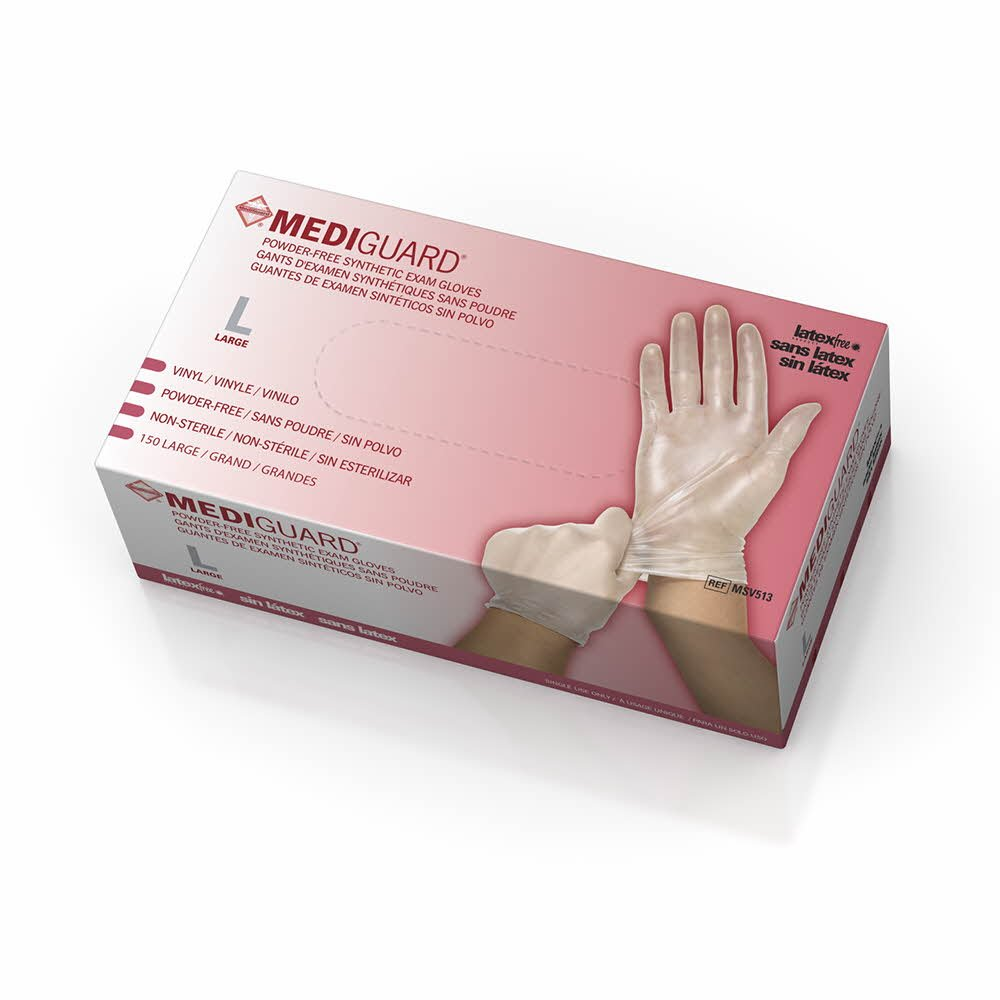 Medline 6MSV513 MediGuard Vinyl Synthetic Exam Gloves, Latex Free, 9'' Length, Large, Clear (Pack of 1500) by Medline