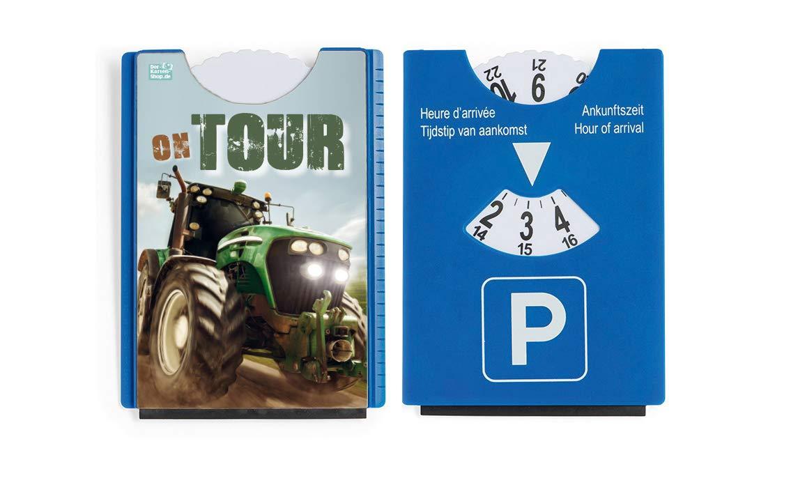 Der-Karten-Shop.de Fun Spaß Motiv Parkscheibe mit Eiskratzer und Gummilippe Traktor On Tour!