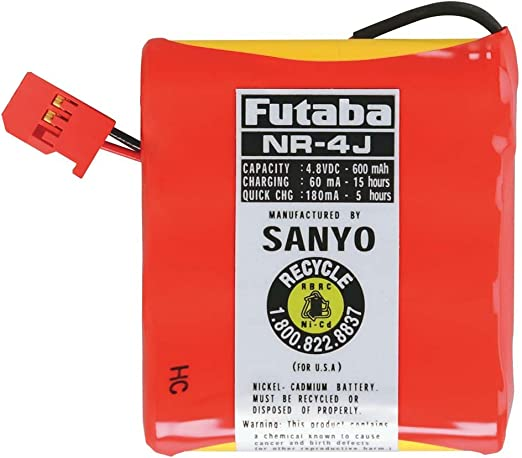 Futaba NR4J Rx NiCd Flat 4.8V 600mAh J Receiver Battery Pack