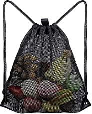 Mesh Drawstring Bag Heavy Duty Drawstring Backpack Mesh Bags Sports Cinch Sack Black Mesh Beach Bag Multi Func