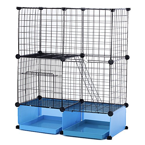 Modular Add-Up Small Cat (Kitten) Small Dog (Puppy) Cage Playpen (Blue Basic) by CHEERWEPET