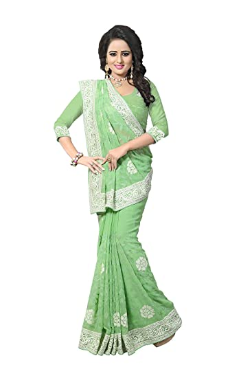 b6a870ab73 Indian Sarees For Women Designer Traditional Green Sari.: Amazon.in:  Clothing & Accessories