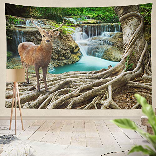 """threetothree 60"""" W x 50"""" L Tapestry Wall Hanging Interior Decorative Deer Standing Tree Front Lime Stone Water Deep and Forest Wild Life Nature for Bedroom Living Room Tablecloth Dorm"""