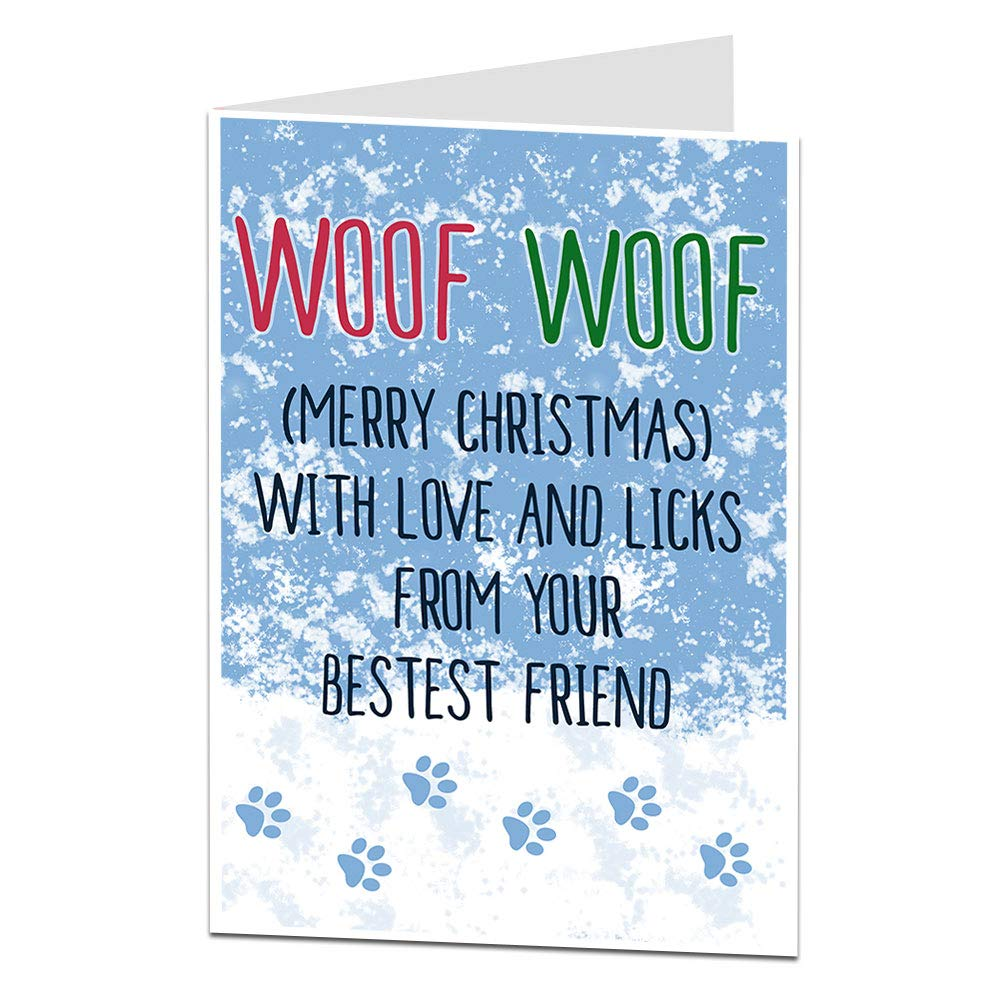 Funny Christmas Card Messages.Christmas Card From The Dog Cute Funny Pet Theme Xmas Message Perfect For Mum Dad All Owners