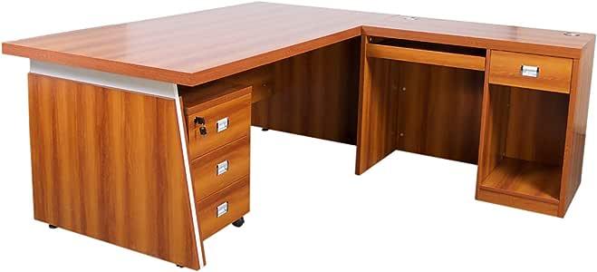 Mahmayi Dupla 3218 Modern Executive Desk - Apple Cherry - Modern and Classy Big Office Desk (180cm, Rose Cherry)