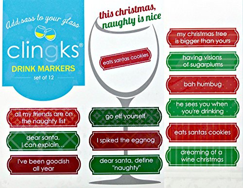 Clingks-12-Drink-Markers-THIS-CHRISTMAS-NAUGHTY-IS-NICE-Fun-Alternative-to-Wine-Charms