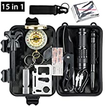 Oriketech Emergency Survival Kit 15 in 1 Mini Survival Gear Kit Outdoor Survival Tool with Thermal Blanket Carabiner Fire Starter More for Adventure Outdoors Sports Traveling Hiking