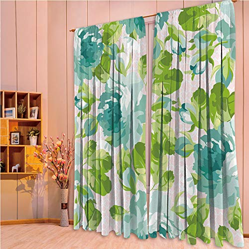 ZHICASSIESOPHIER Modern Style Room Darkening Blackout Window Treatment Curtain Valance for Kitchen/Living Room/Bedroom/Laundry,Botany Garden Theme Blue Roses Leaves Bouquets 108Wx73L Inch