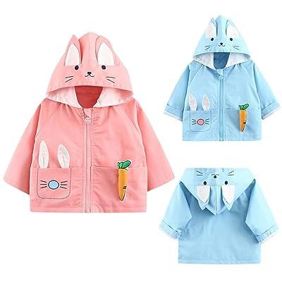 272aca652 Baby Girl Boy Winter Wind Dust Trench Coat Kids Bunny Ears Hooded ...