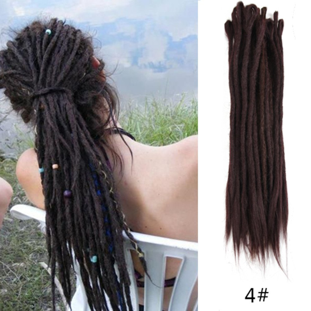 AOSOME 20Inch 20pcs/pack Synthetic Dreadlock Extensions Dark Brown Crochet Hair Extensions by AOSOME