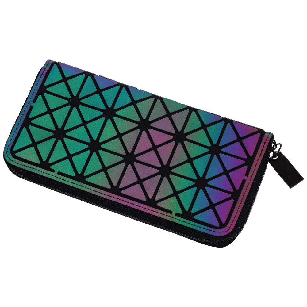LANPA Holographic Geometric Clutch Wallet - Luminous Lattice Purse for Women, Iridescent Cellphone Handbag with Coin Pocket 10456411