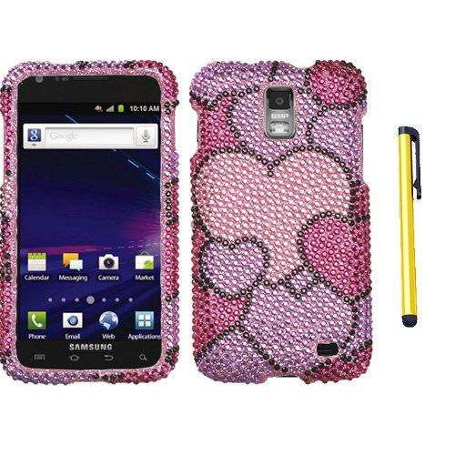 Hard Plastic Snap on Cover Fits Samsung Galaxy S2/II Skyrocket i727 Cloudy Hearts Full Diamond/Rhinestone
