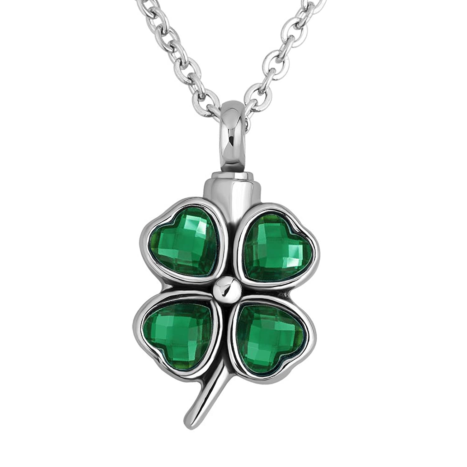 LuckyJewelry Four Leaf Clover Urn Pendant Necklace Cremation Jewelry Ashes Premium Keepsake Memorial