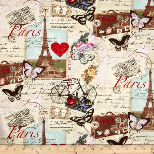 Timeless Treasures Paris Collage Antique Fabric By The Yard (Antiques Print)