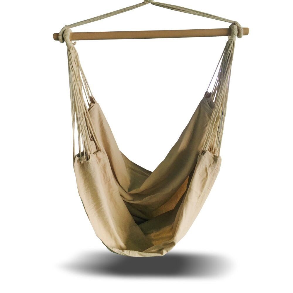 Ultranatura Hammock Chair Swing Seat- Large Hammock Hanging Rope Chair for Outdoor, Indoor, Garden, Patio, Porch, Yard. 330 lbs Capacity, 71''(L) x 49''(W) - Beige