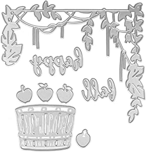 Cutting Dies Metal, Autumn Die Cut Metal, Cirrus and Apple Embossing Stencils for DIY Scrapbooking Photo Album Decorative DIY Paper Cards Making Gift, Metallic Die Cut