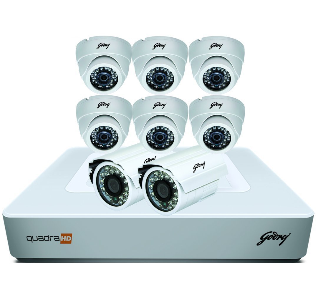 Godrej Security Solutions See Thru 720P 8 Channel 6 Dome 2 Bullet Cameras Full CCTV Camera Kit (White)