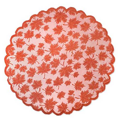 """DII 40"""" Round Lace Table topper, Maple Leaf Orange Spice - Perfect for Fall, Thanksgiving, Catering Events, Dinner Parties, Special Occasions or Seasonal Décor from DII"""