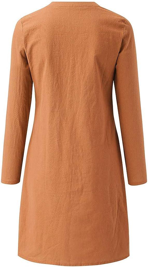 WENOVL Maxi Dresses for Women,Fashion Women Flower Print Round Neck Solid Long Sleeve Pocket Dress