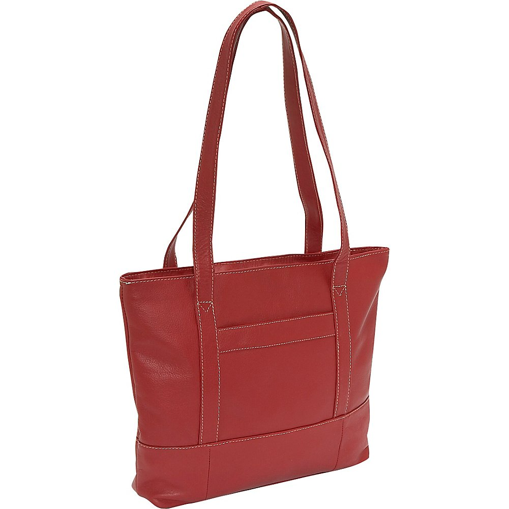 Piel Leather Top-Zip Tote, Red, One Size