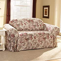 Sure Fit Chloe Sofa Slipcover, Red Flowers