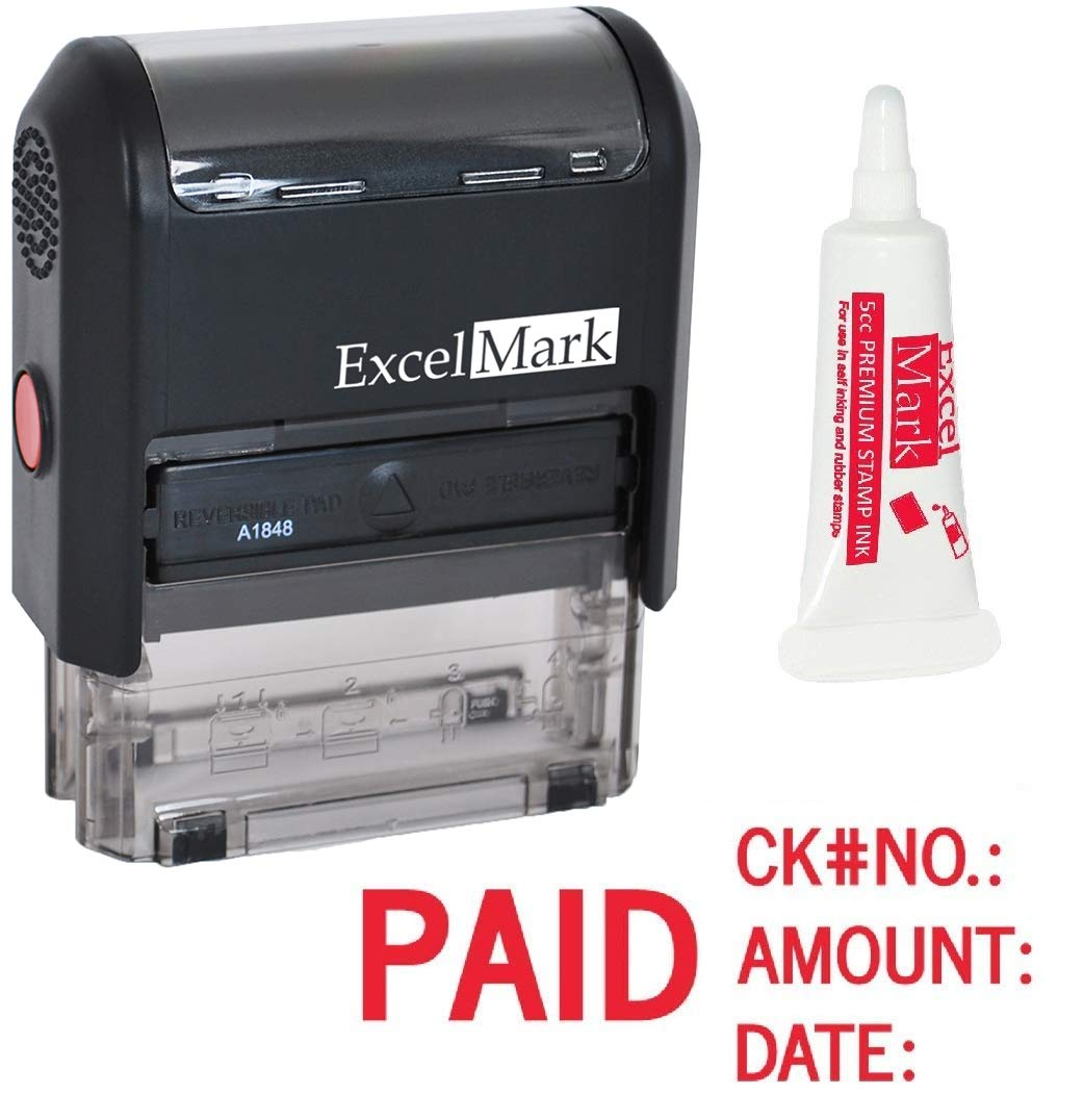 ExcelMark Paid Self Inking Rubber Stamp - Red Ink with 5cc Refill Ink (A1848)