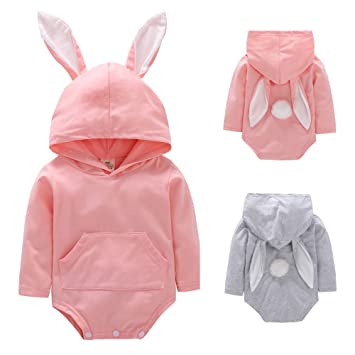 0c091861741 Toddler Infant Baby Girls Boys Cartoon Rabbit Ear Hooded Romper Jumpsuit  Outfits Baby Long Sleeve Cubism