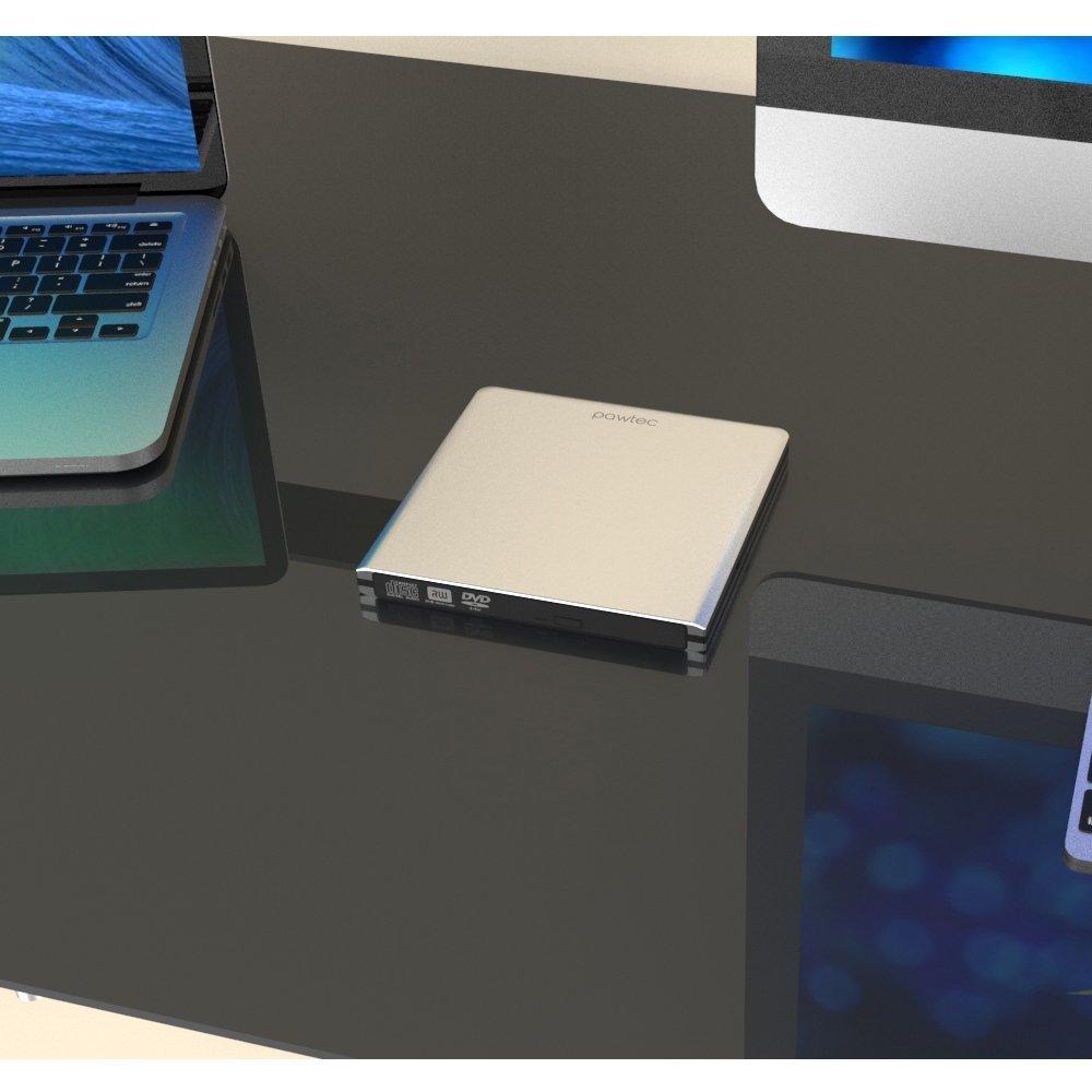 Pawtec External USB 3.0 Aluminum 8X DVD-RW Writer Optical Drive with Lightscribe (Silver)