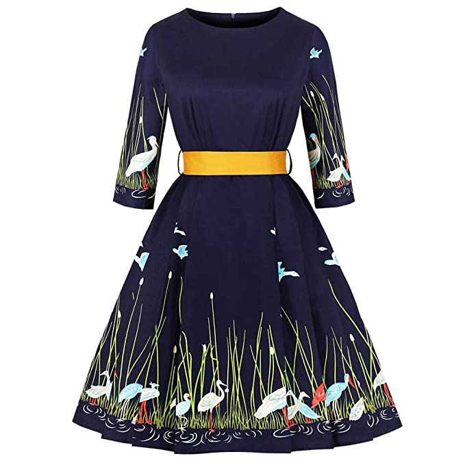 beautyjourney Vestido Retro de los años 50, Vestido de Fiesta de Noche Elegante de Las