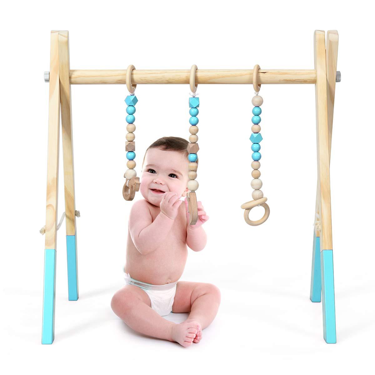 COSTWAY Baby Gym Babyspielger/ät Spieltrapez Spielbogen Holzspielzeug Aktivit/ätszentrum mit 3 Kinderspielzeugen zur Gehirnentwicklung /& sensorische Stimulation f/ür Babys /über 3 Monate Grau